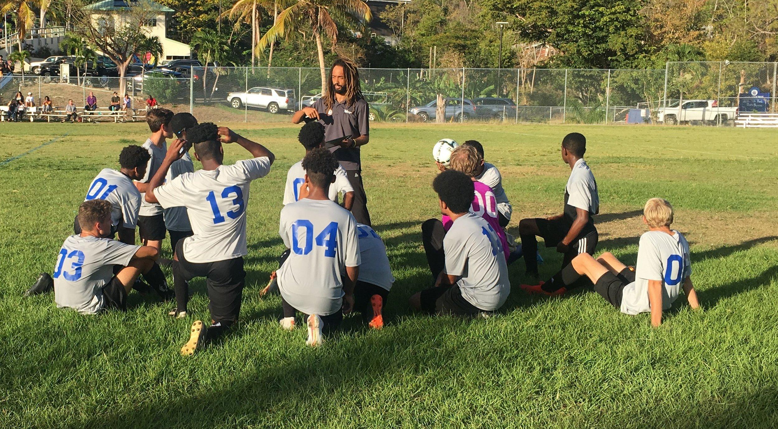 Varsity Huddle during Antilles Game on Thursday - Final Score 7-1