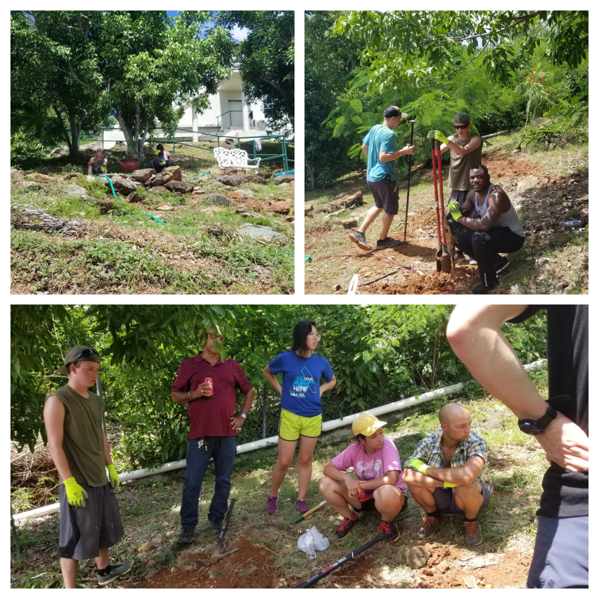 Top Left: Oakley and Lancer take a break after digging. Top Right: David, Oakley and Lancer hard at work. Bottom: Mr. Bornn and the UAA AE club have a quick meeting