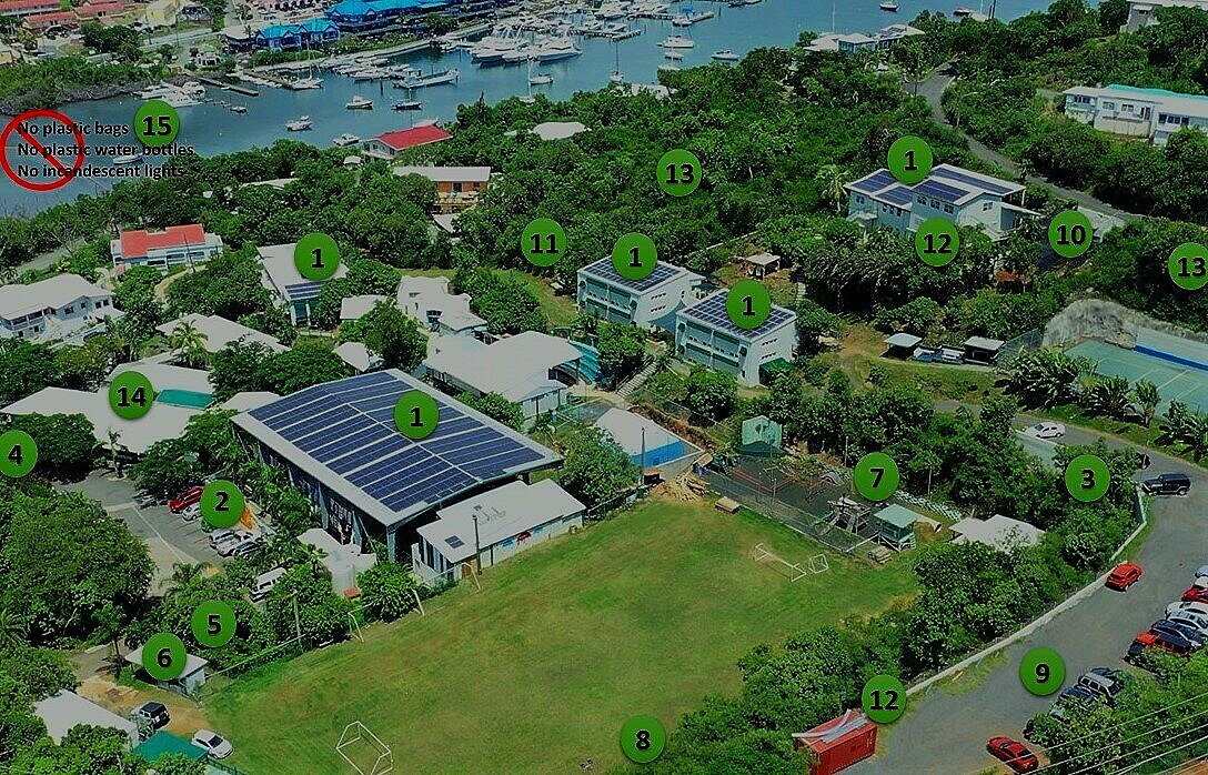 KEY 1.  Solar energy;  2.  solar Vehicles;  3.  Cistern for grey water road runoff;  4.  Sewage recycled for irrigation;  5.  Retention pond;  6.  Aluminum recycling;  7.  Recycled tire wall;  8.  Recycled Utility Poles;  9.  Recycled asphalt;  10.  Organic gardening;  11.  Beehives;  12.  Bat houses;  13.  Tree boa preserve;  14.  LED lighting;  15.  Advocates for banning plastics and incandescent lighting