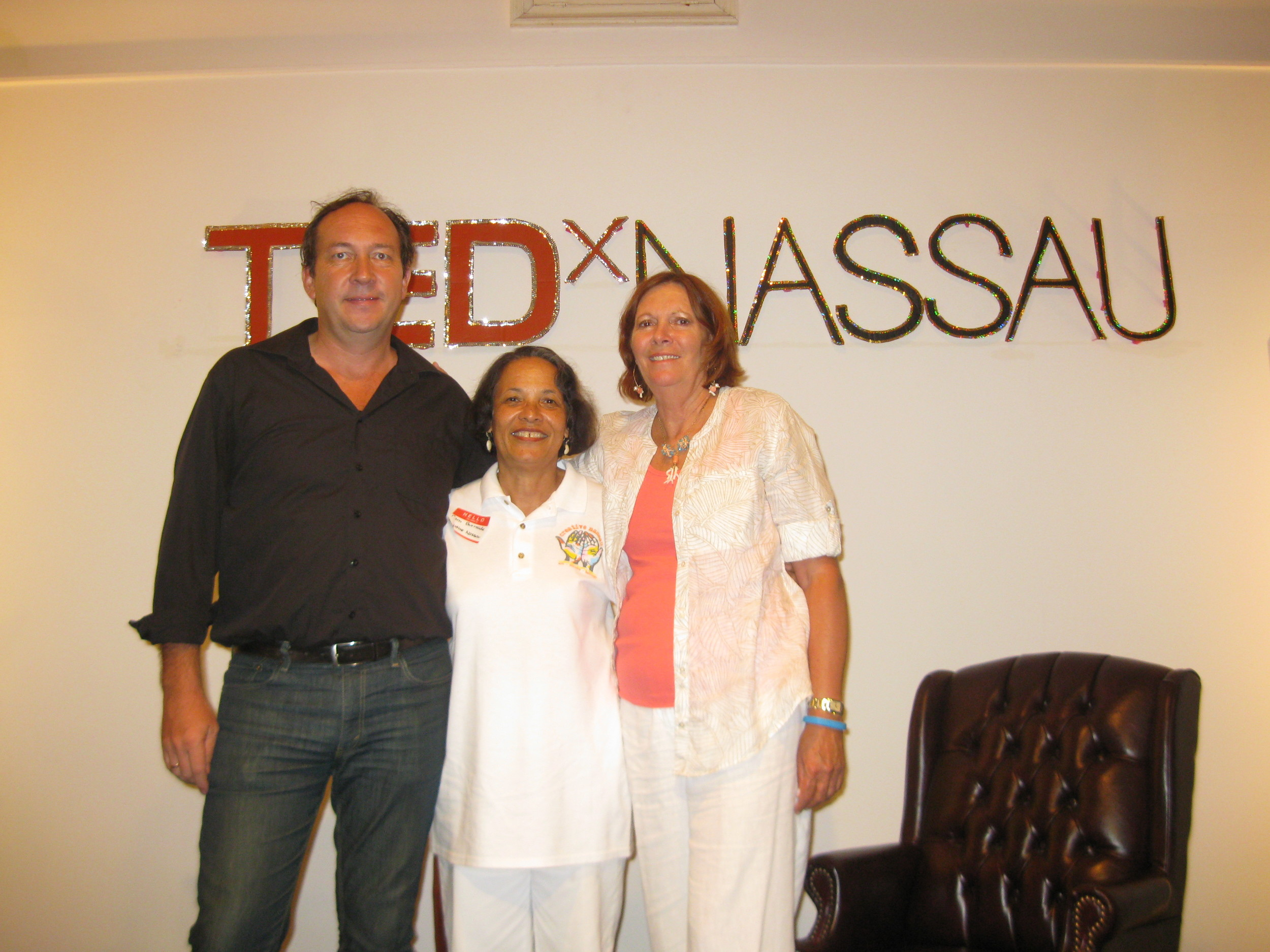 Pam Burnside with CN partners, TEDx organizer, Uli Voges (left) and Shelagh Pritchard (right) of the Lignum Vitae Centre