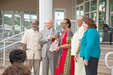 Patricia Glinton Meicholas receiving her award from the Governor General His Excellency, Sir Arthur Foulkes