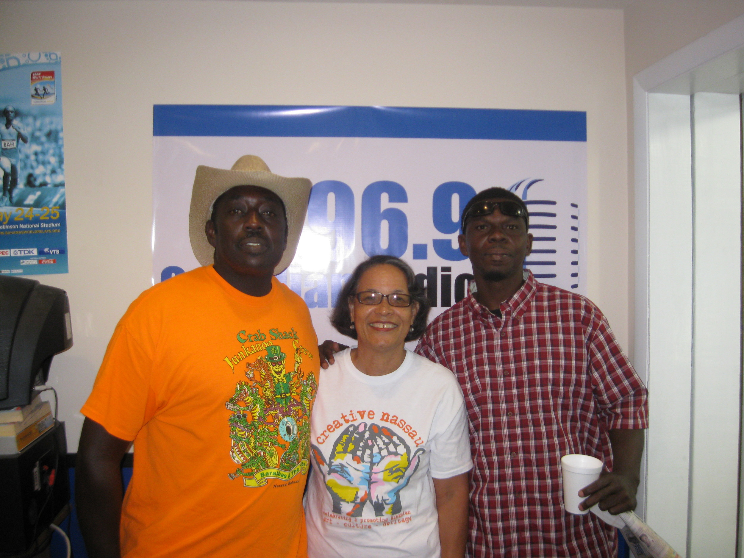 Barabbas, Pam and Scrooge after the recent radio show