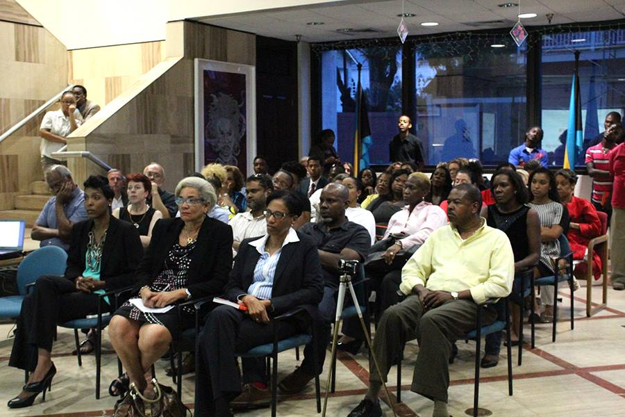 There was a standing room only audience at the Central Bank presentation. Governor of the Central Bank, Ms Wendy Craigg sits at the front along with IDB Representatives Ms Astrid Winters and Cherran O'Brien to her left (photos courtesy of Keisha Oliver for The Central Bank of The Bahamas)