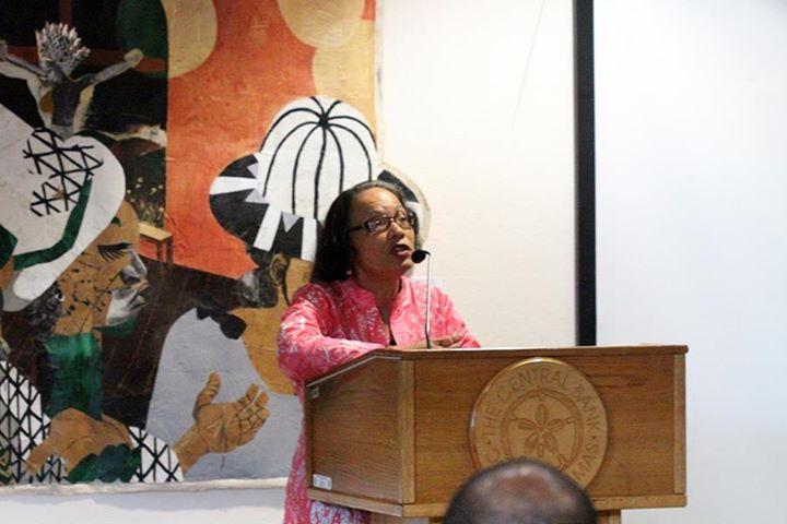 Pam Burnside makes her presentation at The Central Bank
