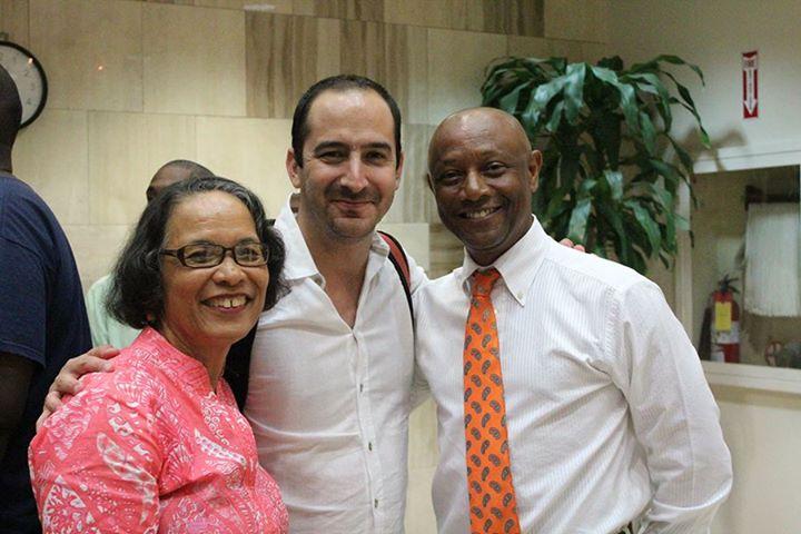 Pam with IDB presenter on 'The Orange Economy', Felipe Buitrago Restrapo (centre) and Antonius Roberts following the presentations