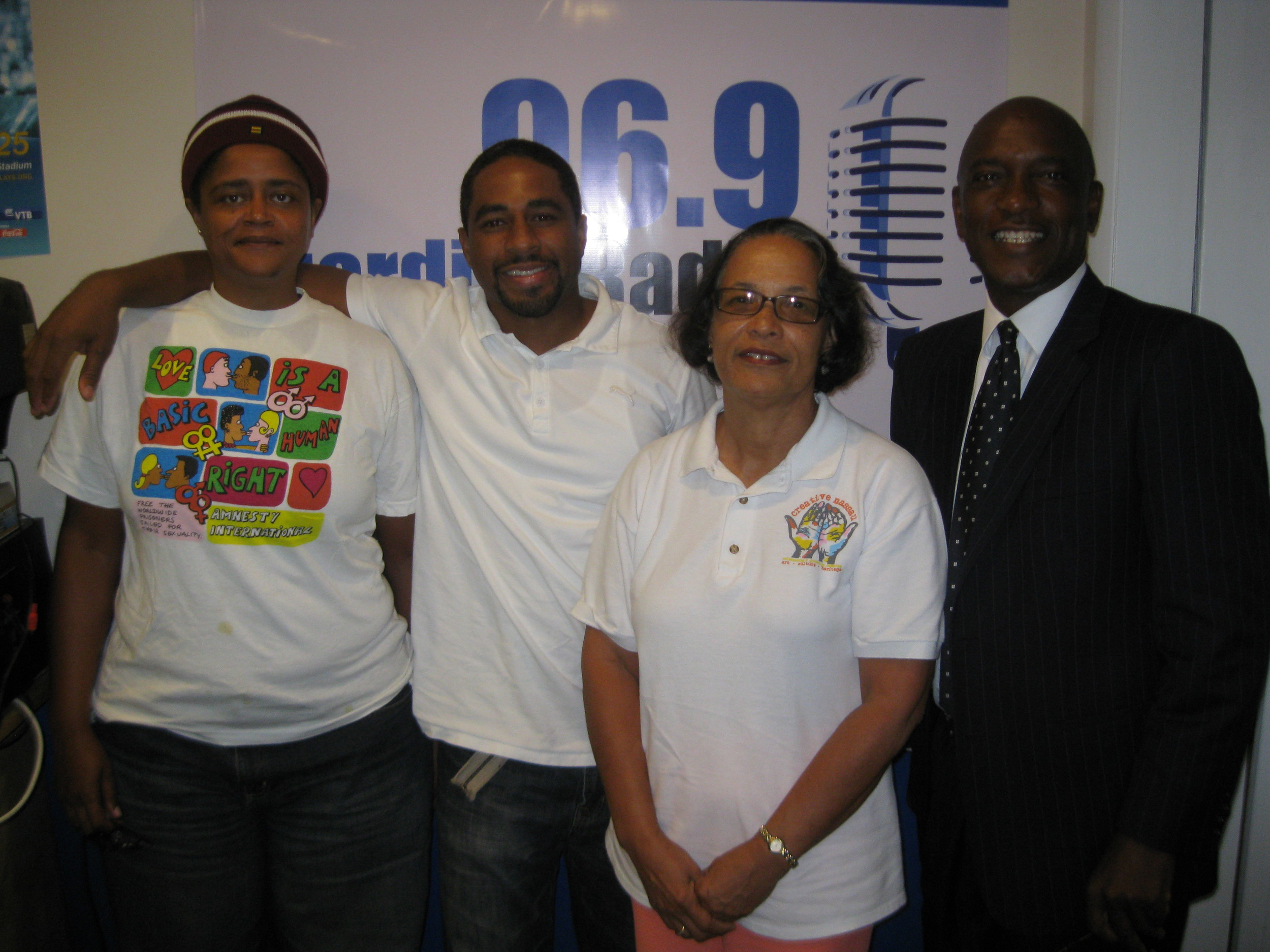 Radio Host Lester Cox (right) and co-host, Erin Greene (left) with guests, Matthew Wildgoose and Pam Burnside