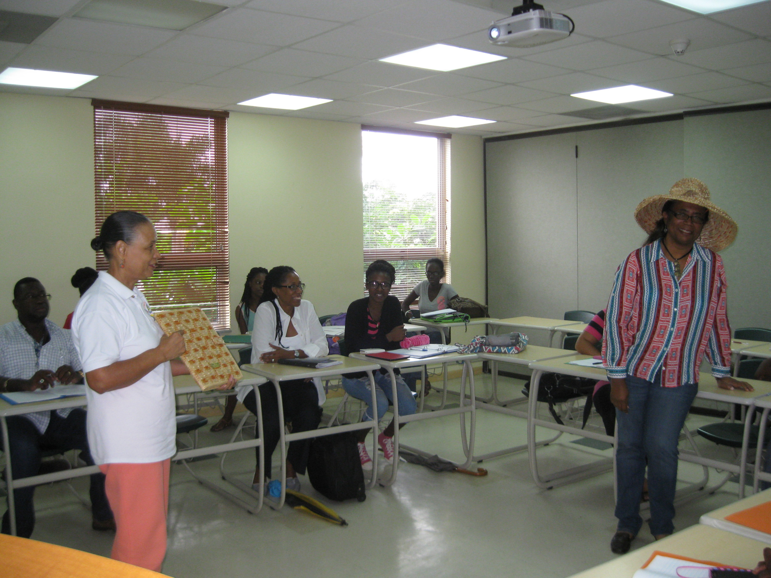 The students were shown examples of Bahamian straw products