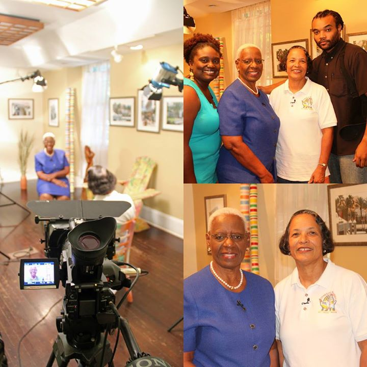 Photos clockwise: Host, Rosemary Hanna interviews Pam; Patrice Francis, Rosemary, Pam and VAUDIO owner Kevin Turnquest after the shoot; Rosemary and Pam
