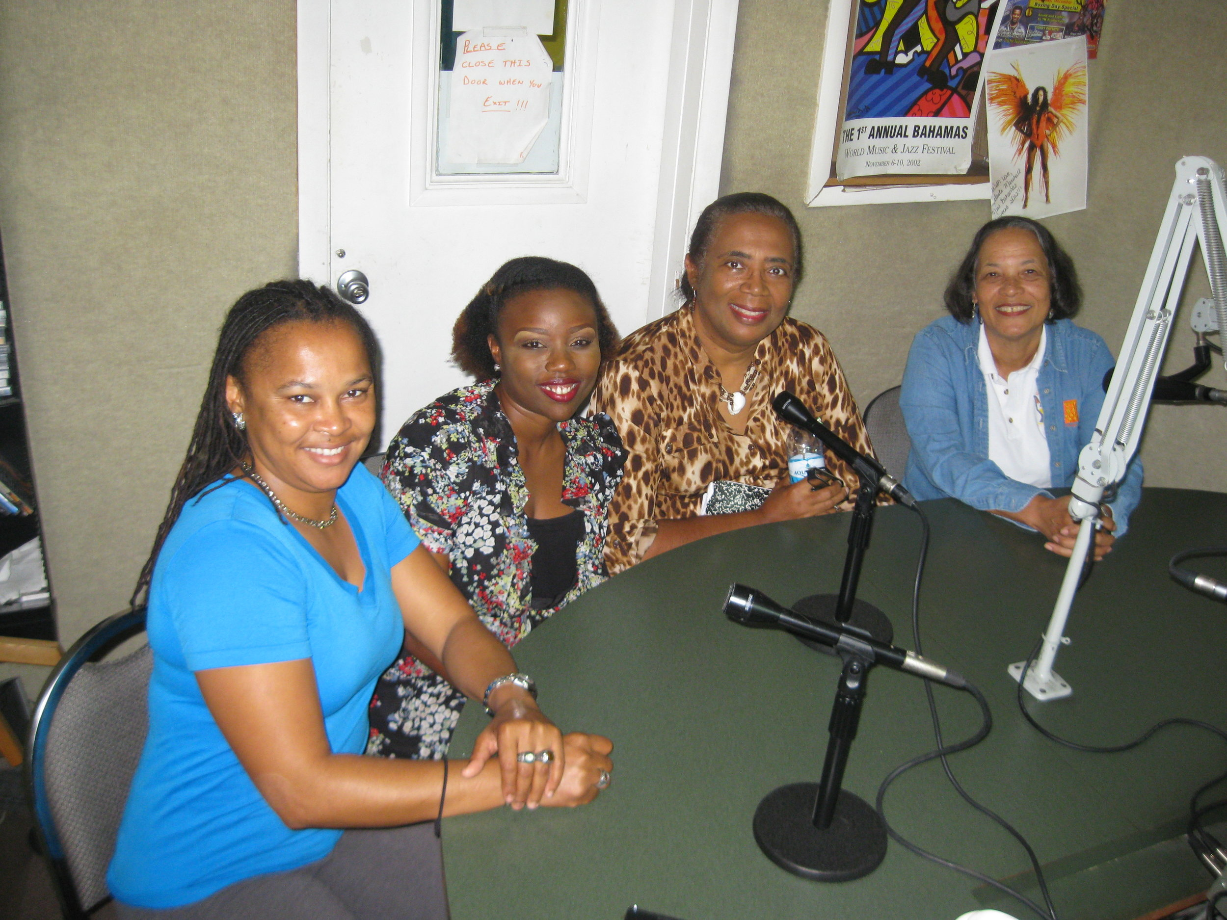 From left to right in the Island FM 102.9 recording Studio: Straw shoe designer Keesha Pratt, shoe designer Dandreia Bethel, Patti and Pam