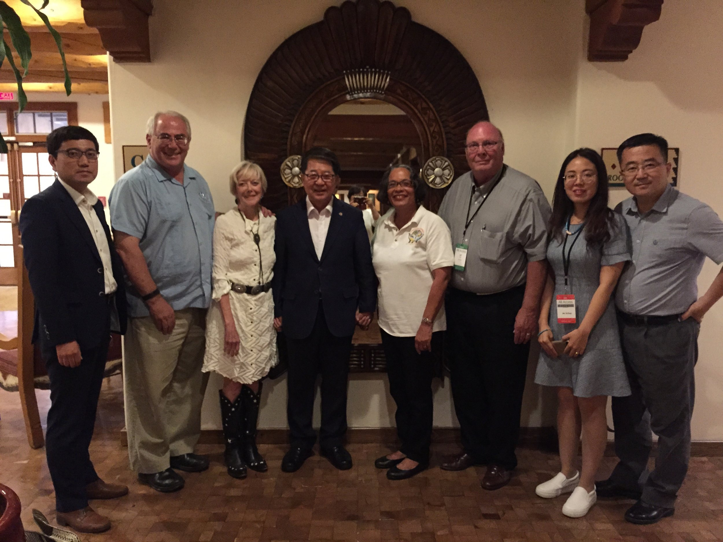 Mayor Cho (centre) of South Korea and with his delegation with Santa Fe officials and Pam