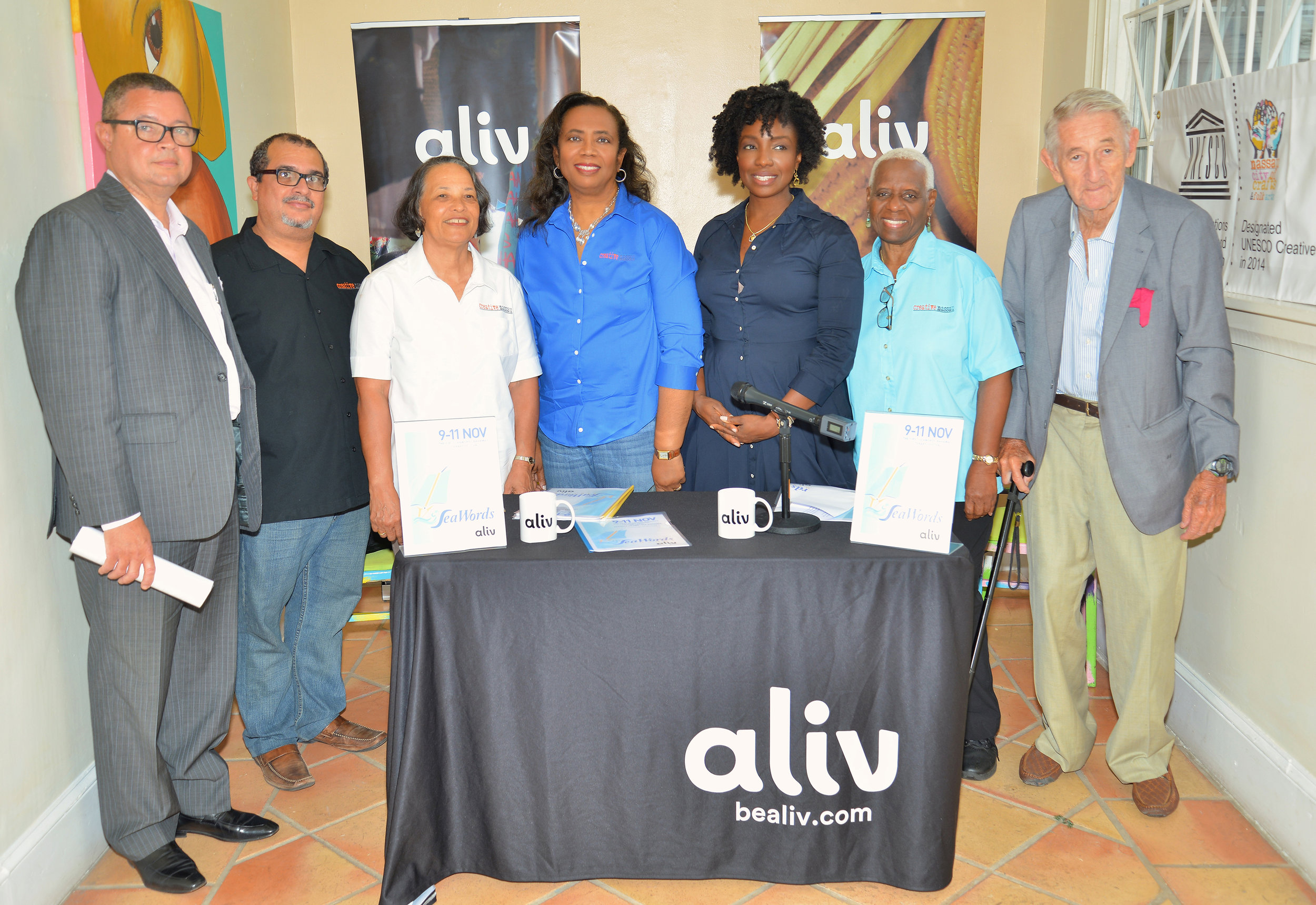 Members of the SeaWords Bahamas ALIV Committee and Sponsors at the June Press Launch - left to right: Paul McWeeney. Sponsor from Sunshine Group of Companies, Neko Meicholas, Pam Burnside, Patricia Glinton-Meicholas SeaWords Chair, Title Sponsor ALIV's Gravette Brown, Rosemary Hanna, and Richard Coulson