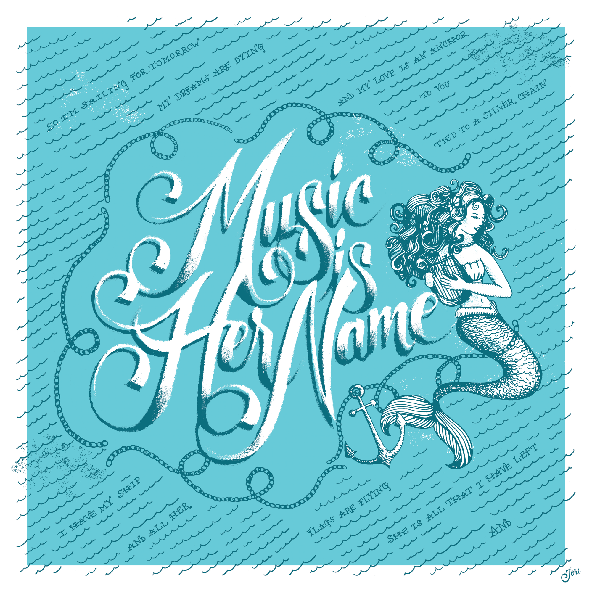 script lettering illustration lyric mermaid poster