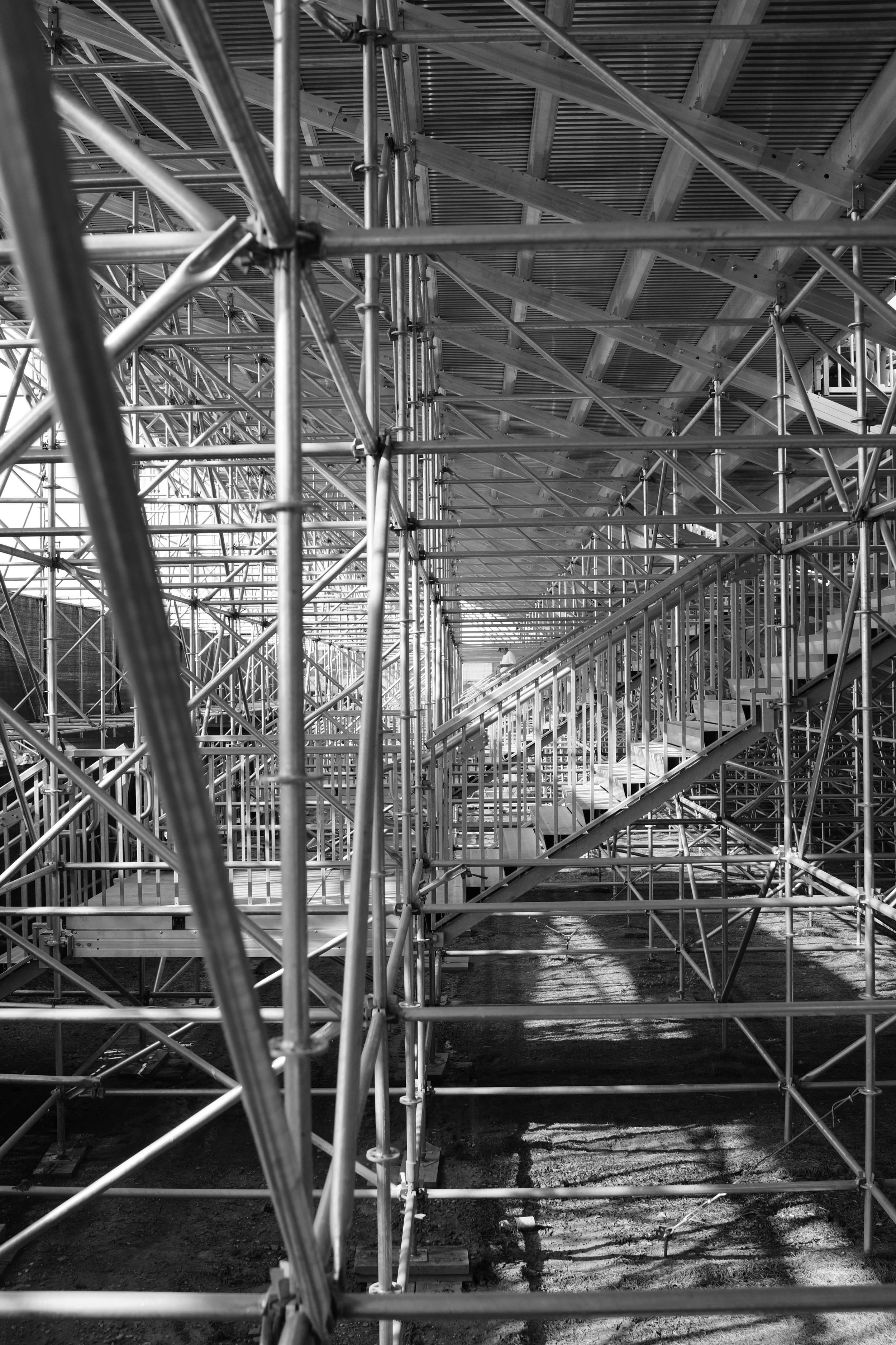 Scaffolding for turn 15 grandstands