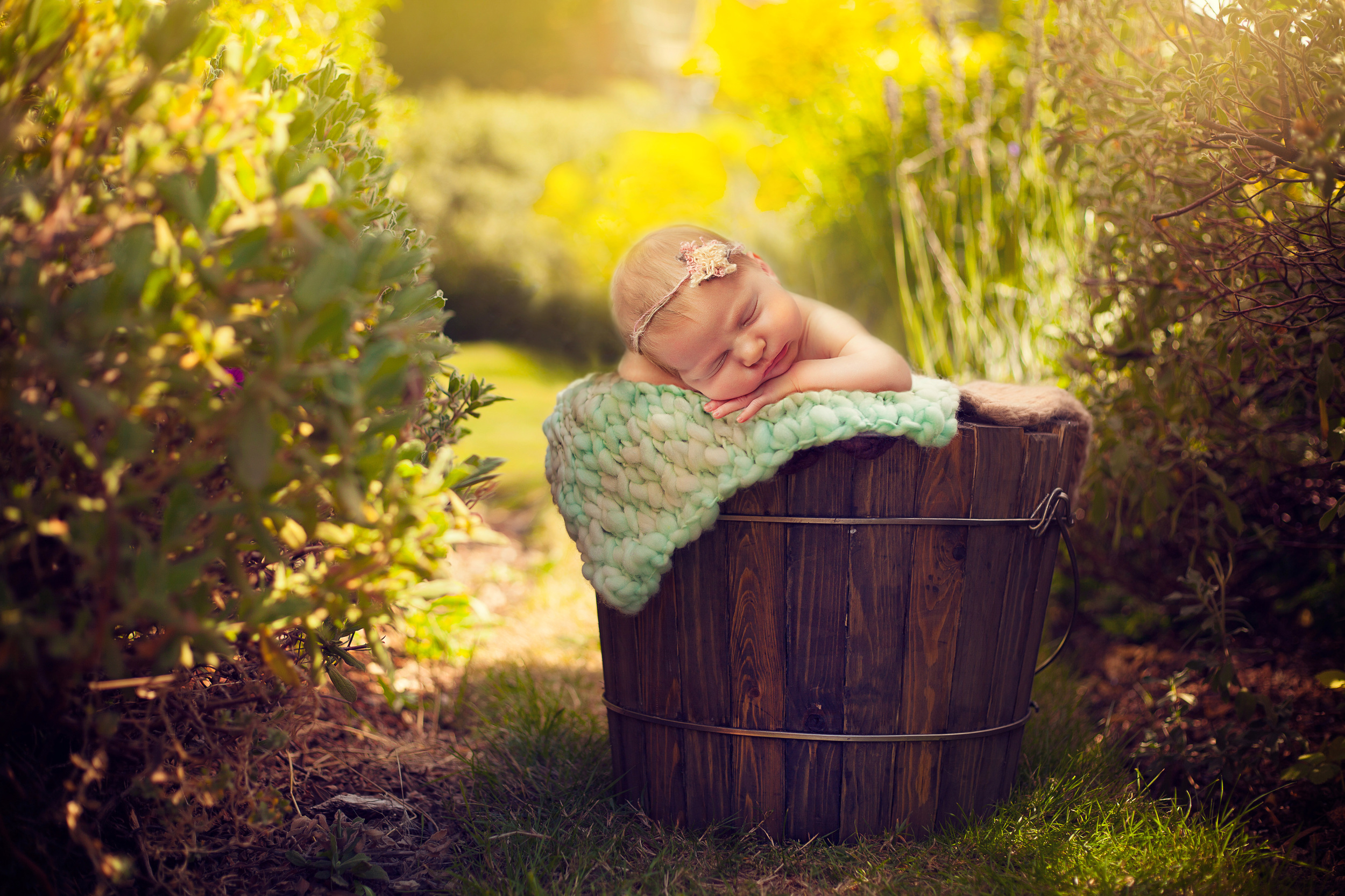 stunning photo of newborn baby sleeping in a wooden bucket surrounded by garden flowers