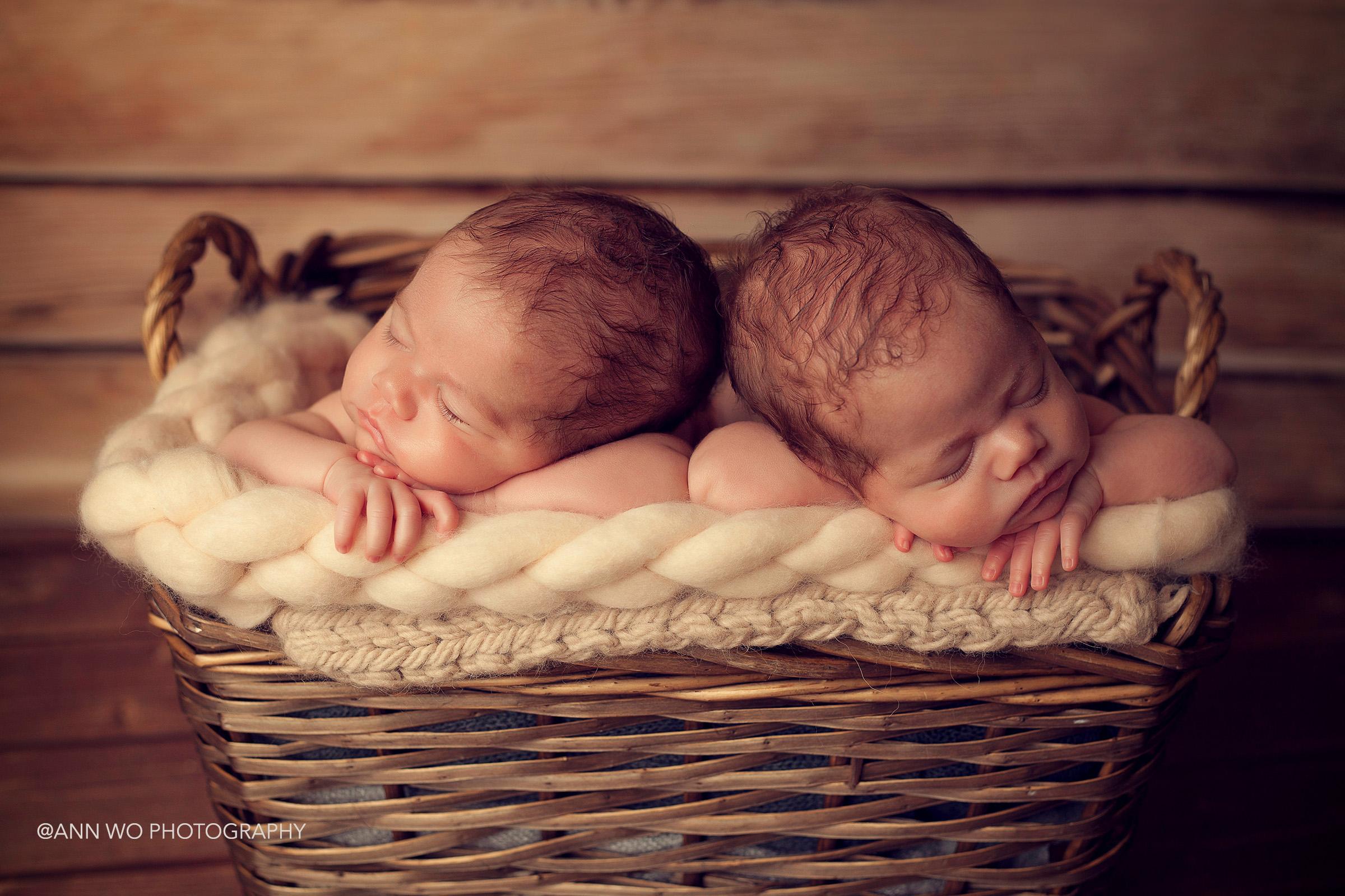 newborn photographer session visit - identical twin sisters, using big basket