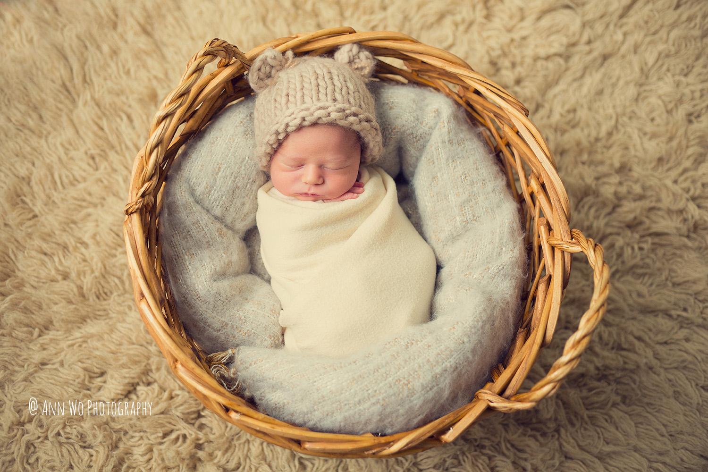 baby photographer london ann wo basket flokati bear hat wrapped newborn