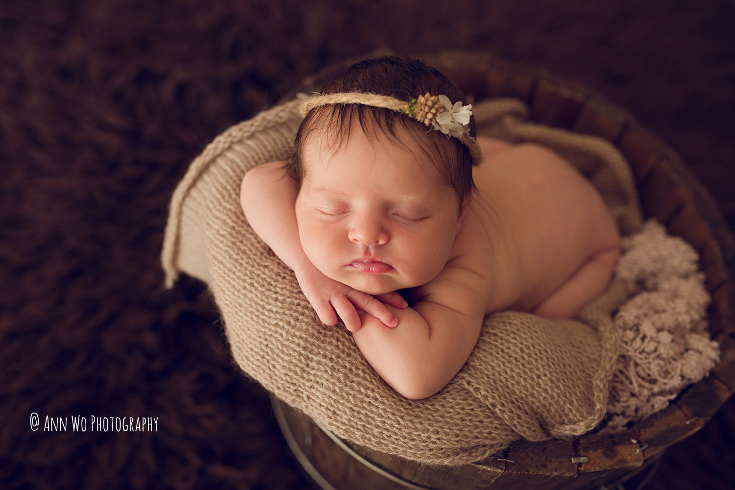 newborn photography by Ann Wo London baby in bucket