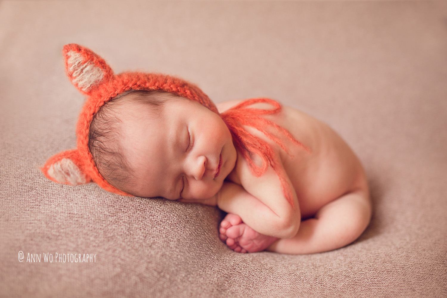 Newborn photography in Maidenhead fox hat