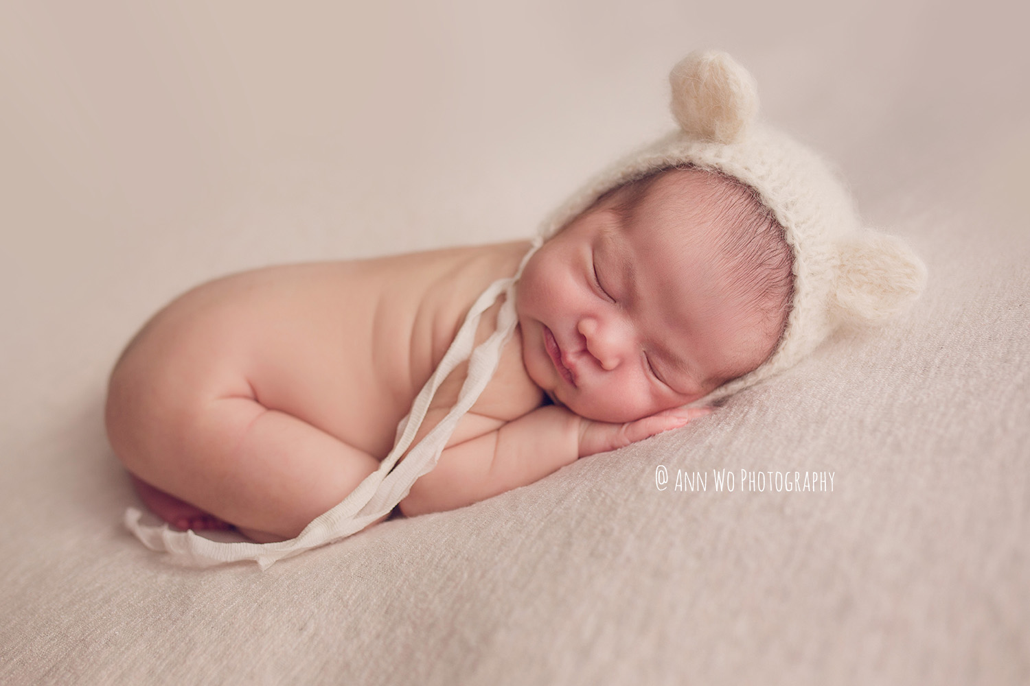 Newborn baby photographer in London cute bear hat Ann Wo