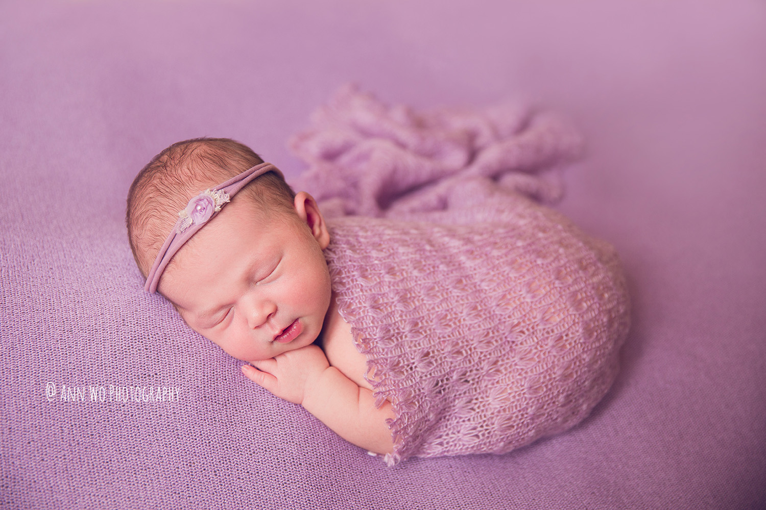 Berkshire newborn photography lilac setup