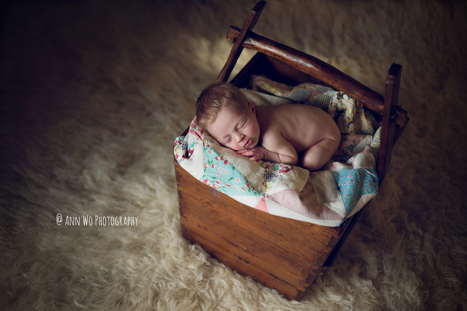 Newborn photography in London by Ann Wo rice bucket