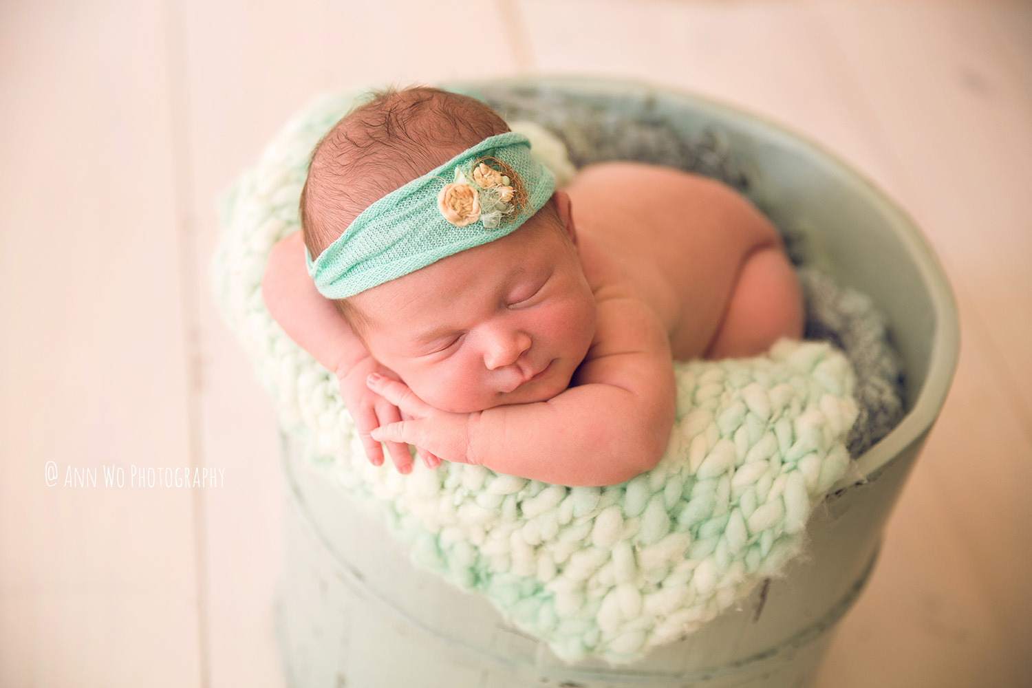 Newborn photography in London by Ann Wo mint bucket