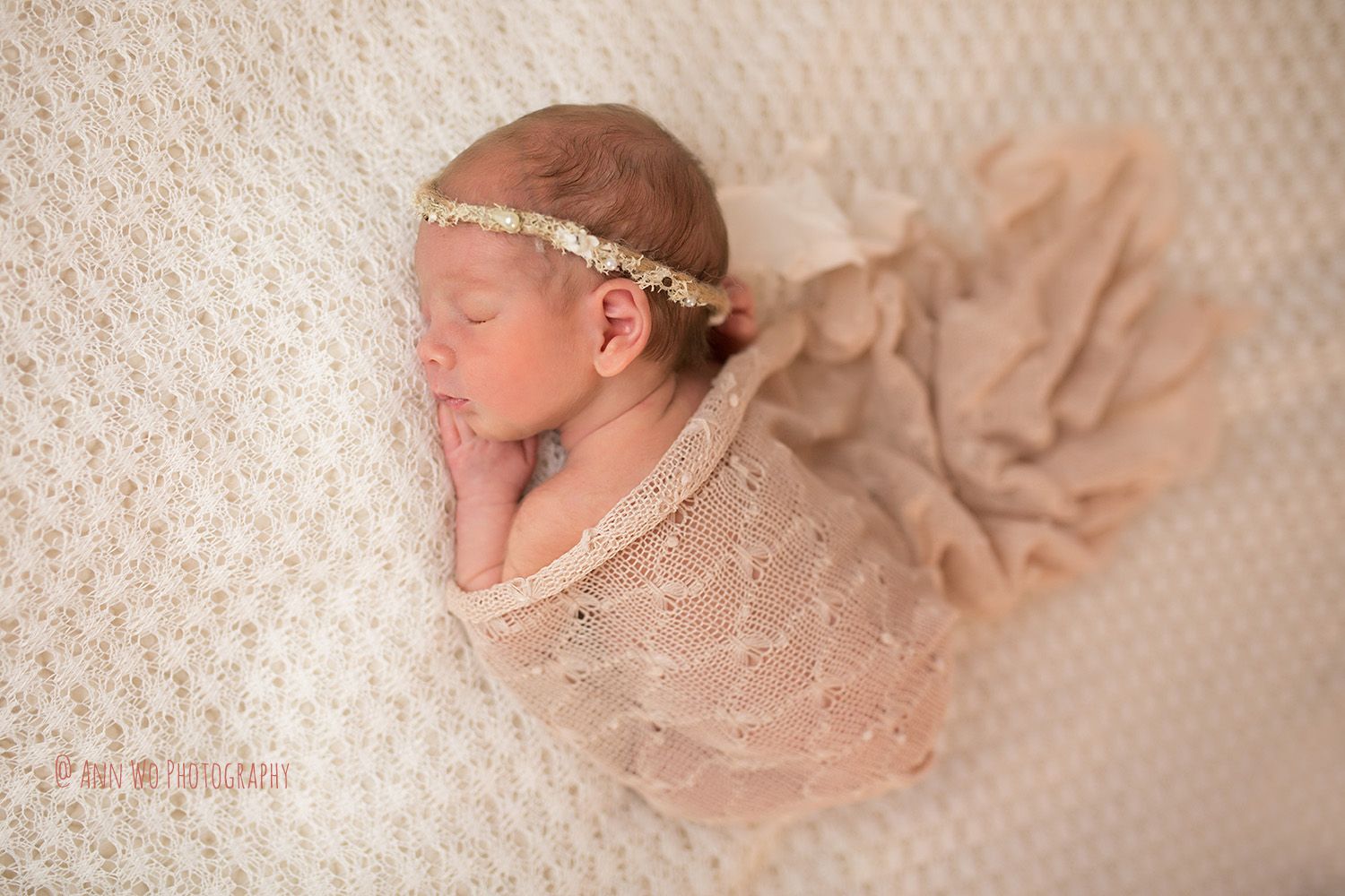 Newborn photoshoot in London lace wrap and headband