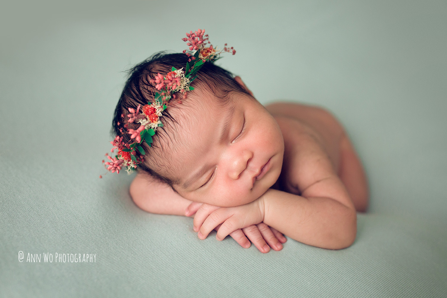newborn photography by Ann Wo in London using mint fabric background from Sage and Blush