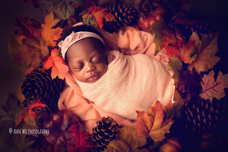 newborn baby girl autumn theme ann wo photography london uk