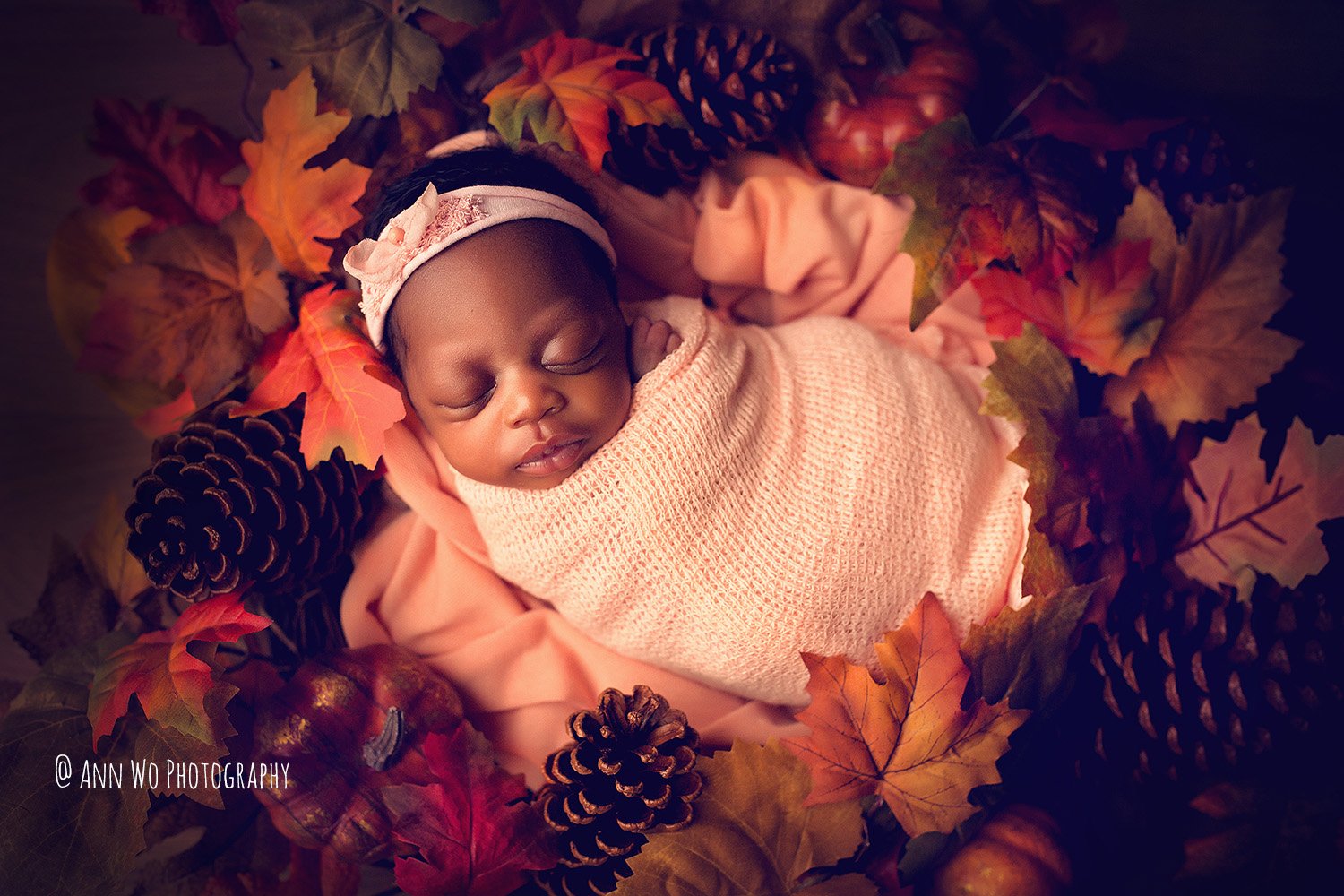 Newborn photography in London by Ann Wo autumn leaves set up
