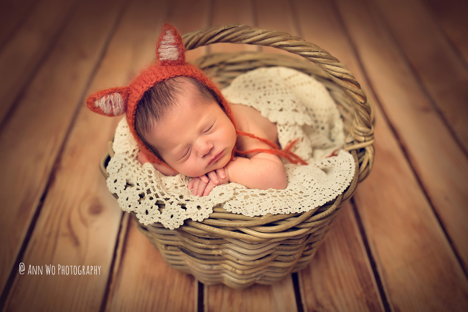ann wo photographer newborn baby in the basket wearing fox hat and vintage lace