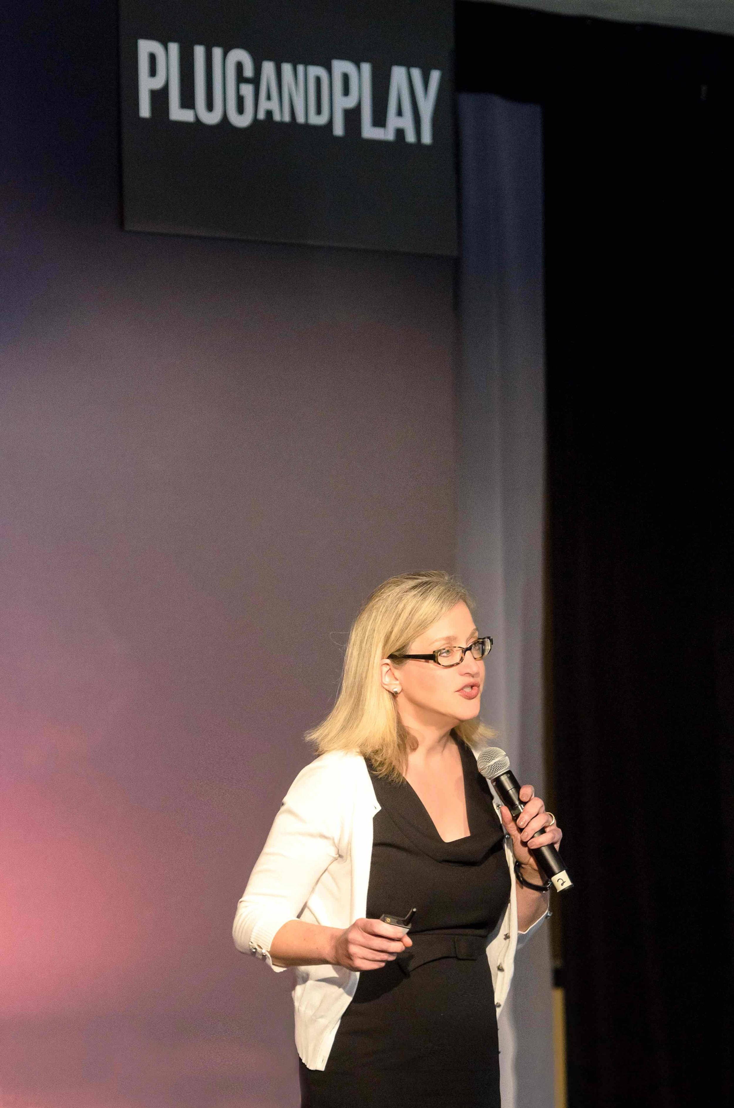 Data Simply CEO Michelle Bonat presents the company to the silicon valley audience at Plug And Play Fintech Expo on May 25, 2016.