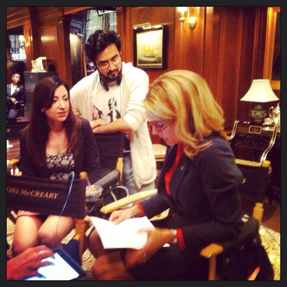 Fajer Al-Kaisi, With Hend Ayoub (left) and Tea Leoni (right) on the set of Madam Secretary, acting as an Arabic language consult and dialect coach