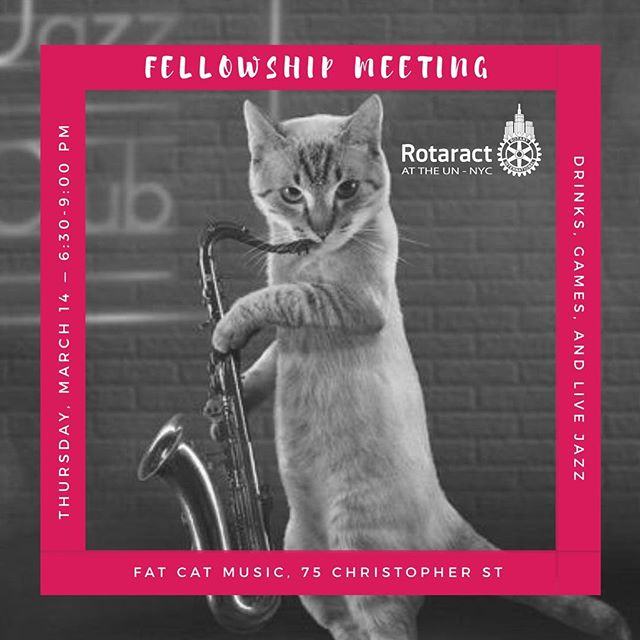 Celebrate World Rotaract Week with us! Thursday, March 14 — 6:30-9 PM Fat Cat Music ... We'll be out and about for an evening of games and live music to celebrate 51 years of Rotaract! ... Games: pool, ping pong, shuffleboard, foosball, chess, checkers, backgammon, and scrabble Live Jazz: 7 PM Simona Premazzi Group