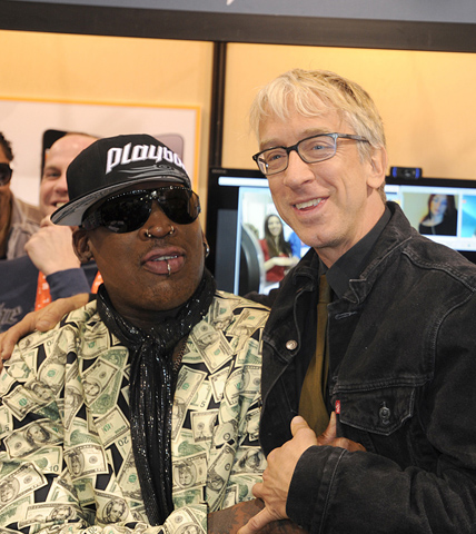 Dennis Rodman palling around with Andy Dick at the Las Vegas Convention Center.