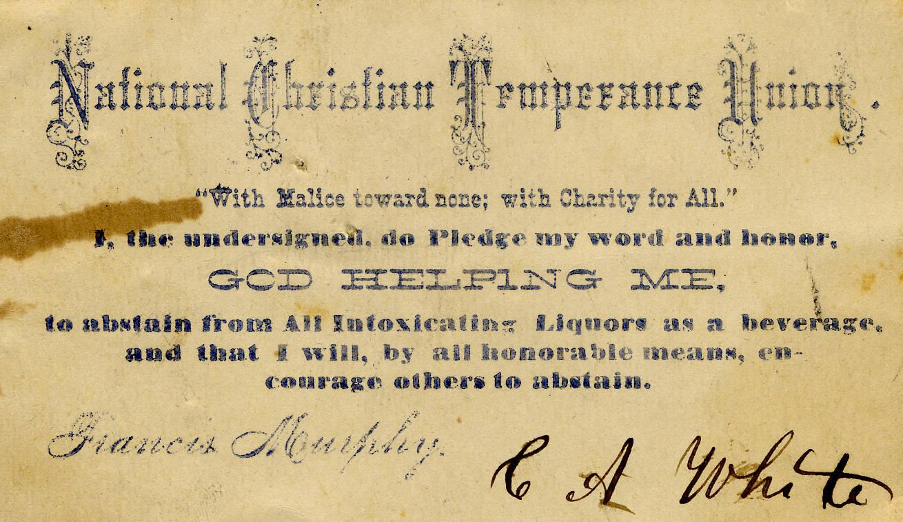 National Christian Temperance Union membership card