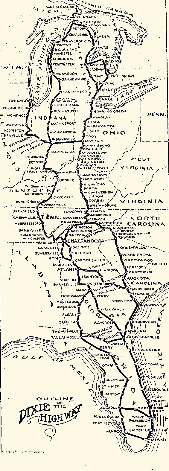 Map of the Dixie Highway