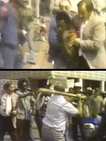 Violence at a Klan march in Mobile, Alabama. 1977.