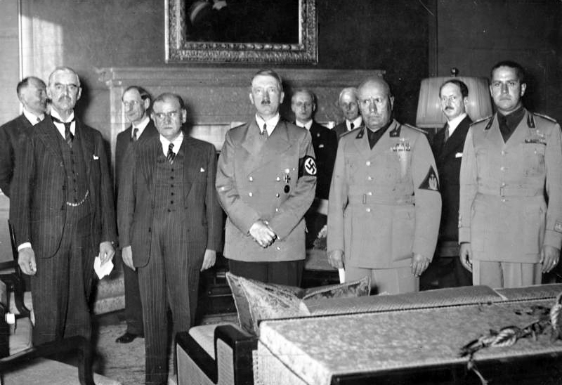 Image taken during the Munich Agreement. From left to right: Neville Chamberlain (prime minister of Britain), Eduoard Daladier (prime minister of France), Adolf Hitler, Benito Mussolini, and Galeazzo Ciano (the Italian foreign minister and Mussolini's son-in-law).