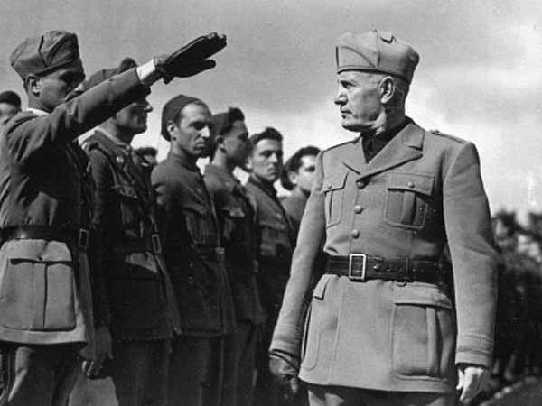 Mussolini inspecting Italian troops in Abyssinia (now Ethiopia).