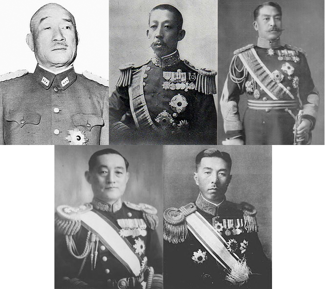 The men responsible for the Rape of Nanking. Top row, left to right: Sugiyama Hajime - Minister of War, Hiroyasu Fushimi - Chief of Navy, Kan'in Kotohito - Chief of Army. Second row, left to right: Yonai Mitsumasa - Minister of Navy, Prime Minister Konoe Fumimaru