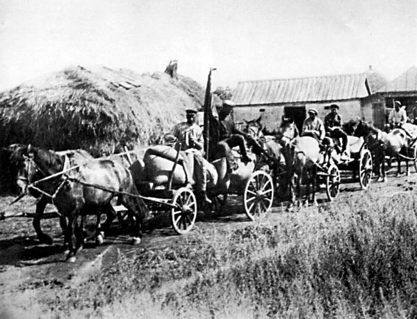 """A so-called """"Red Train"""" taking the first harvest of the season from the farmers to Moscow in 1932."""