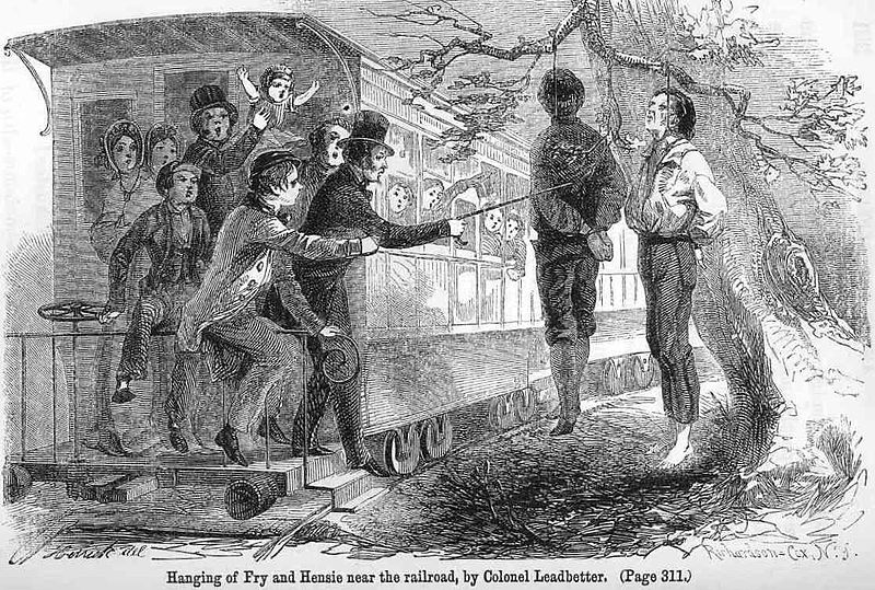 "Train passengers prod the bodies of Union supporters ""Hensie"" and ""Fry"" near Knoxville, Tennessee, USA in December 1861 at the outbreak of the U.S. Civil War (1861–1865). The two were hanged by Confederate authorities, on the orders of General Danville Leadbetter, near the railroad tracks so passing train passengers could see them."