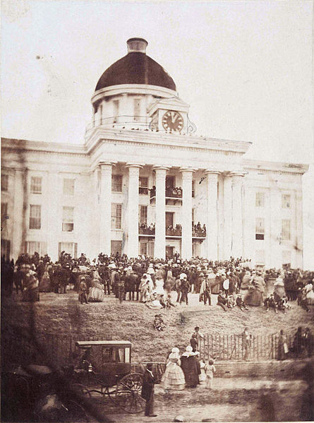 First inauguration of Jefferson Davis as President of the Confederate States of America at Montgomery, Alabama, February 18, 1861.