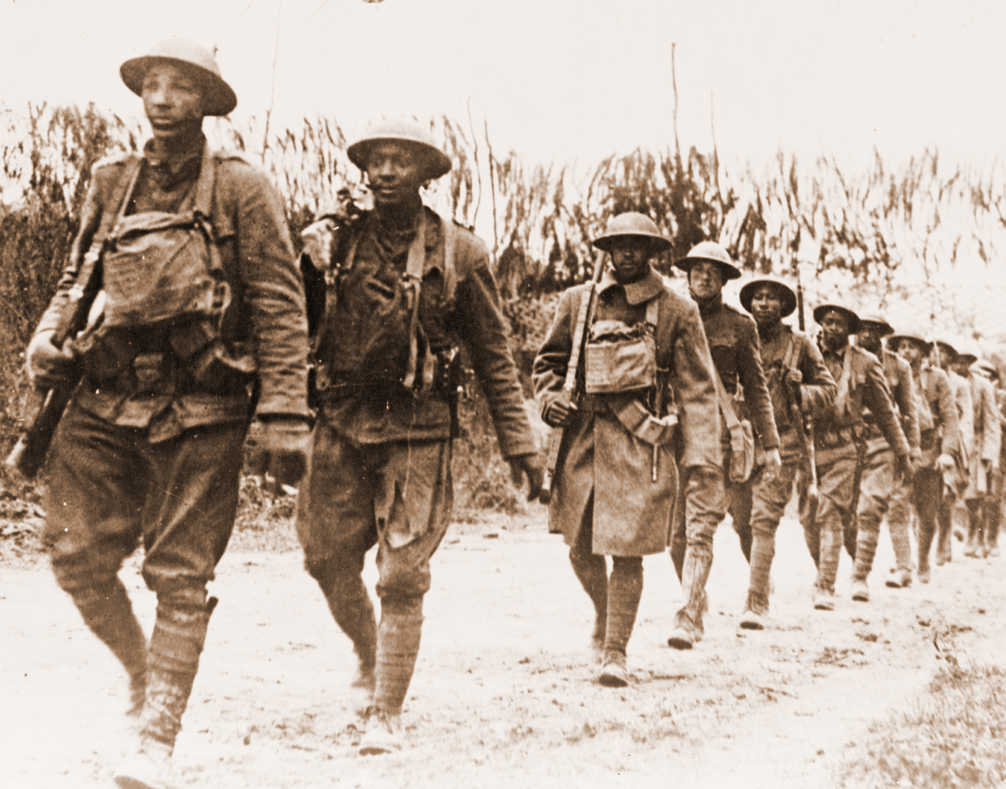 U.S. Army infantry troops, African American unit, marching northwest of Verdun, France, in World War I.
