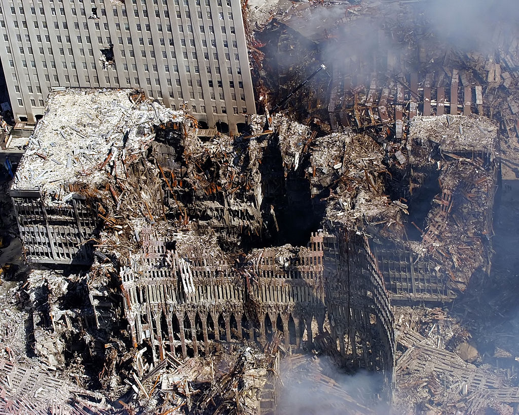 Ground Zero, New York City, N.Y. (Sept. 17, 2001) -- An aerial view shows only a small portion of the crime scene where the World Trade Center collapsed following the Sept. 11 terrorist attack. Surrounding buildings were heavily damaged by the debris and massive force of the falling twin towers.