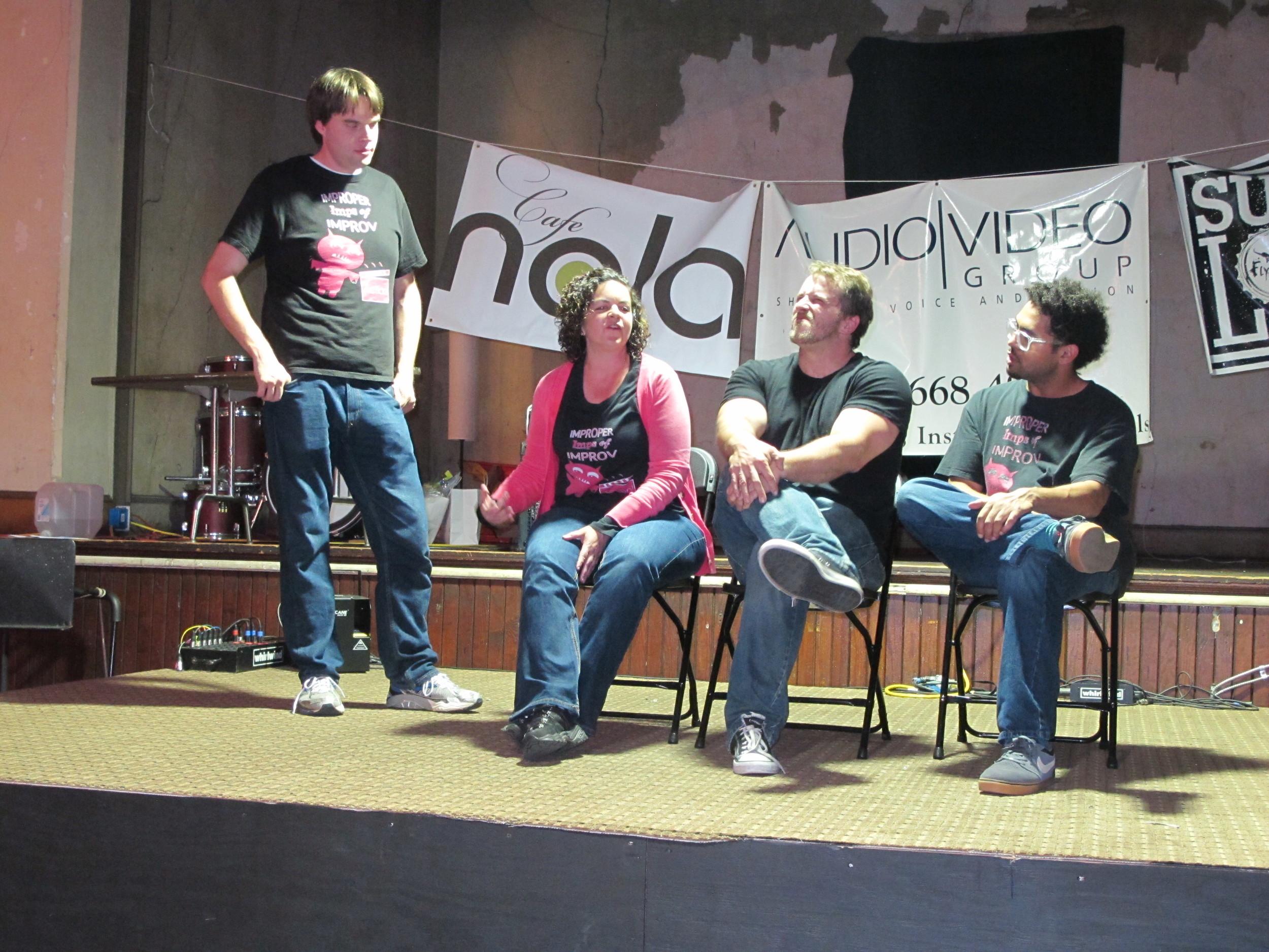 Me, Nate, Jennifer, and Tice playing advice panel.