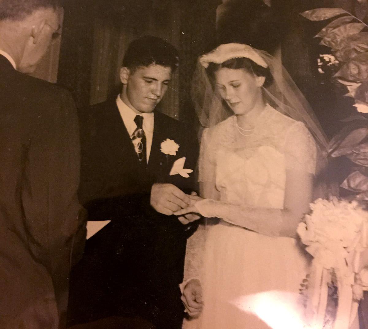 Grandpa and Grandma, on their wedding day