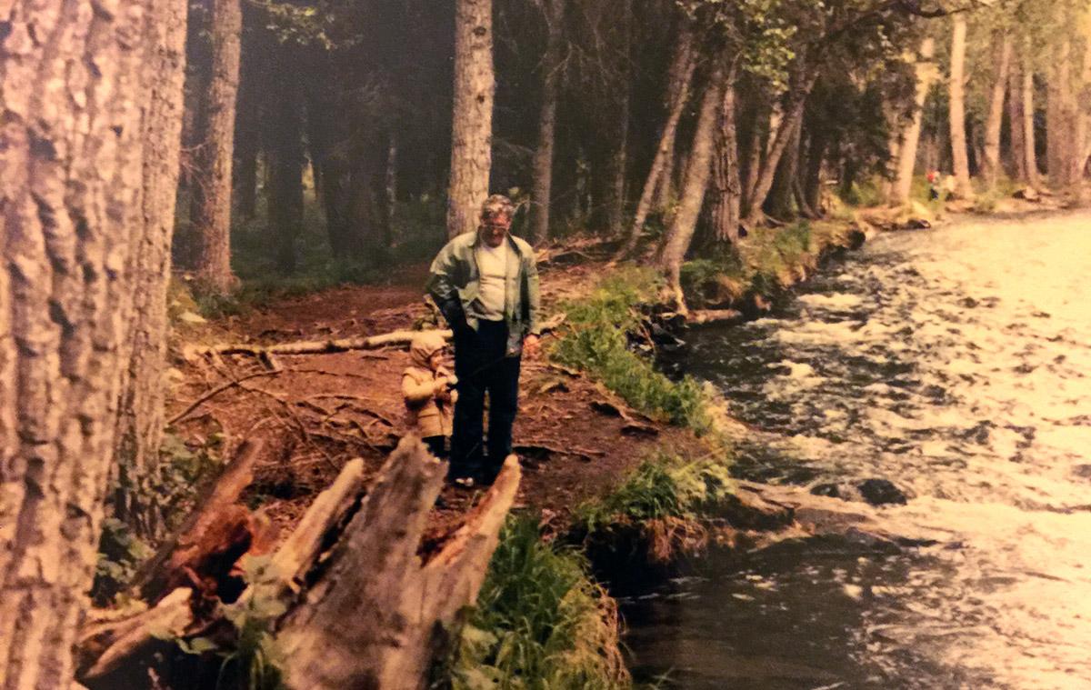 Grandpa and I fishing the Russian River, in Alaska