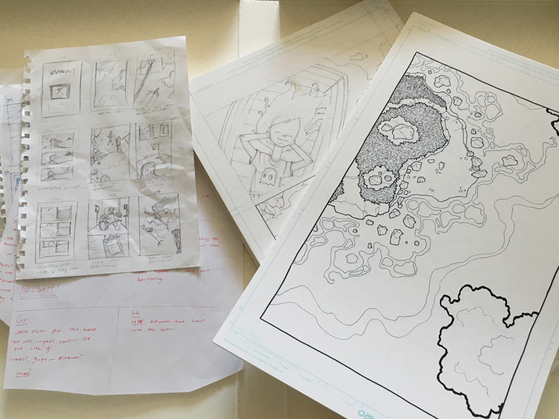 Scripts, thumbnail sketches, pencilled and inked original pages...